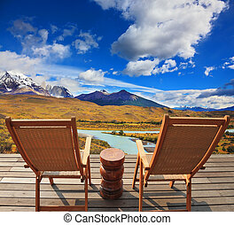 The chairs - Wooden chairs in the Chilean national park...