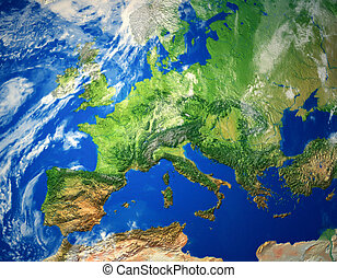Europe map - Illustration of conceptual Europe map - relief...