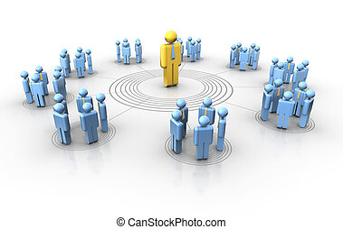 People network - Conceptual network of people with a leader...