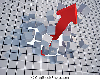 Success concept - Arrow breaking a wall of blocks - 3d...