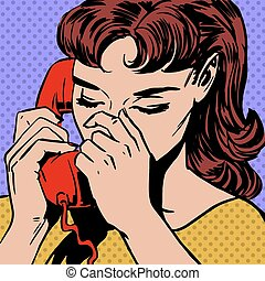 woman speaks on the phone pop art comics retro style...