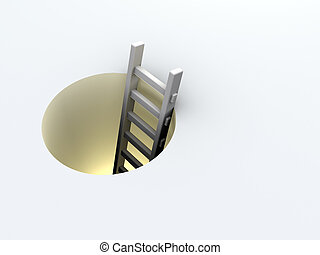 Ladder in hole - Illustration of a ladder leading down a...