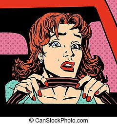 Inexperienced woman driver car accident pop art comics retro...