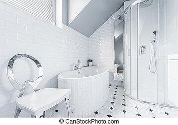 White bathroom design idea - Horizontal view of white...