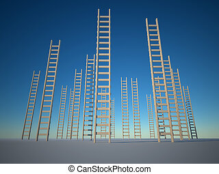 Ladders - Illustration of ladders against clear blue sky -...