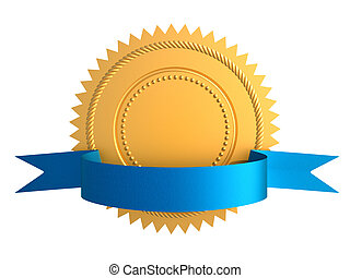 Gold seal - Golden guarantee medal with blue bow isolated on...