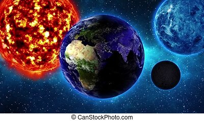 Earth in space and nebula - loop - Planet Earth in universe...