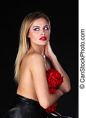 Beautiful blond woman with naked back