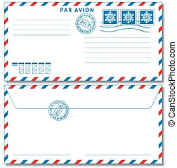 Airmail envelope eps10 - Airmail envelope with stamps Vector...