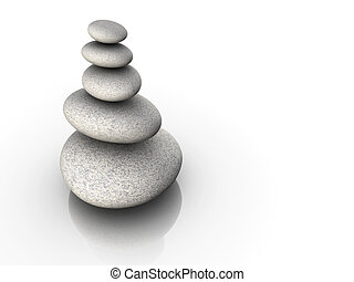 Stone tower in balance - Stack of gray stone sitting in...