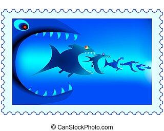 Fish predators stamp
