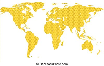 Honeycomb map of the world. Source of map:...