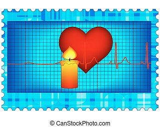 Resuscitation postage stamp - Conceptual image of the heart...