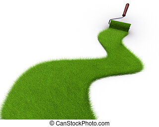 Grass paint - Paint roller painting a path covered with...