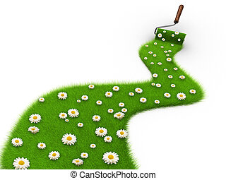 Natural painting - Paint roller painting a path covered with...