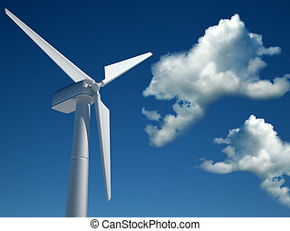Wind turbine - Modern wind turbine against cloudy blue sky -...