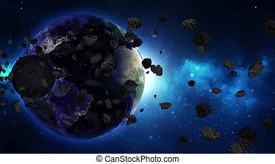 Earth in space and nebula