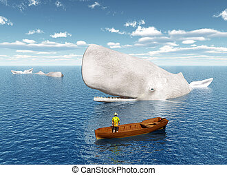Whale Watching - Computer generated 3D illustration with...