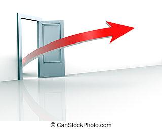 Open door and arrow