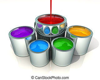 Paint cans - Red paint flowing in paint can - 3d render