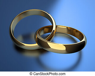 Wedding rings - Interlocked wedding rings over blue...