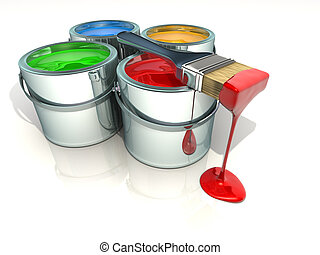 Paint cans - Illustration of paint can and paintbrush - 3d...