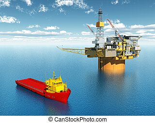 Oil Platform - Computer generated 3D illustration with...