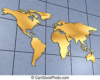 World map on wall - Golden world map on a wall - 3d render