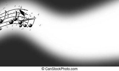 Musical notes, music notes flowing