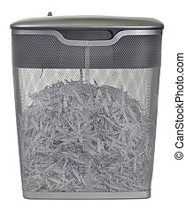 light duty paper shredder with metal wire basket filled with...