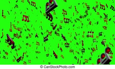 Musical notes, - Animated background with musical notes,...