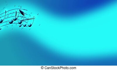 Musical notes, music notes flowing - Animated background...