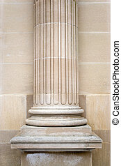 Old Stone Column - An old stone column on the exterior of a...