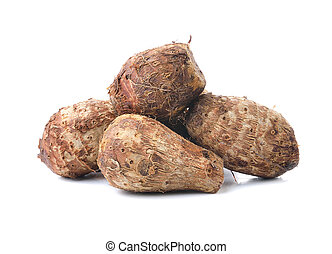 taro root on white background