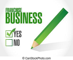 franchise business check sign illustration design over white