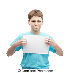 Concerned young boy with a sheet of paper - Concerned young...