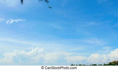 Airplane take-off to the cloudy sky