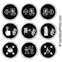 Fire Escape Icons - Black fire escape related icon set...