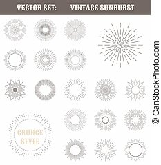Set of vintage sunburst. Geometric shapes and light ray...