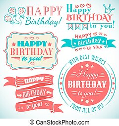 Happy birthday greeting card collection in holiday design