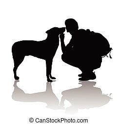 The boy with a dog on white background.vector illustration