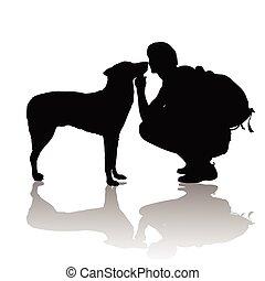 a, Menino, com, Um, cão,
