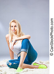 pretty fashionable girl - studio portrait of pretty...