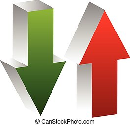 3d arrows point up and down in green and red. Editable...