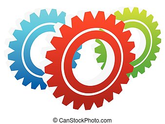 Various gear wheel, rack wheel vector graphics Mechanics,...
