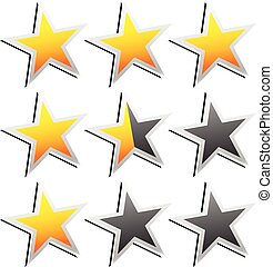Star Rating Element. Star rating system for feedback, value, good-bad experience, customer satisfaction, valuation of quality, good-bad quality concepts. Vector.      Star Rating Element. Star rating