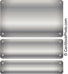 Set of shaded metal plates, plaques with rivets      Set of shaded metal plates, plaques with rivets