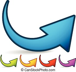 Curved, Bent Colorful Vector Arrow Elements Isolated on...