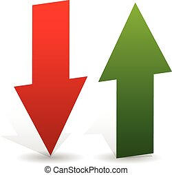3d arrows point up and down in green and red Editable vector...