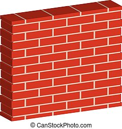 3D, Spatial Brick wall, brickwork with regular pattern...